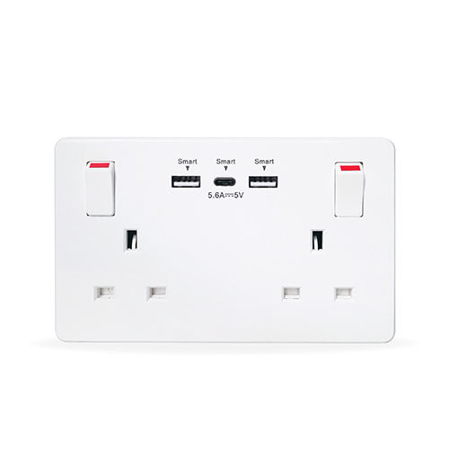 Double Wall Faceplate 2 Gang Switched Socket 13A