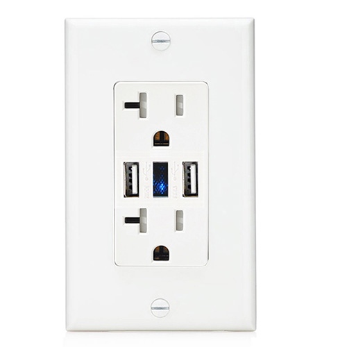 20A TR 2USB 5V3.6A wall outlet white