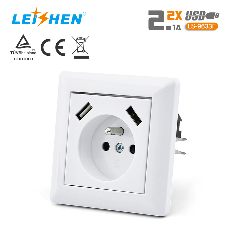French Socket Outlet With USB Charger