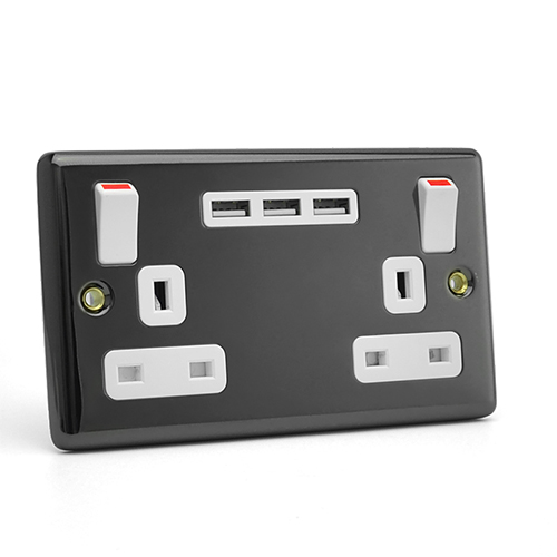 BS Outlets with 3 USB Charger