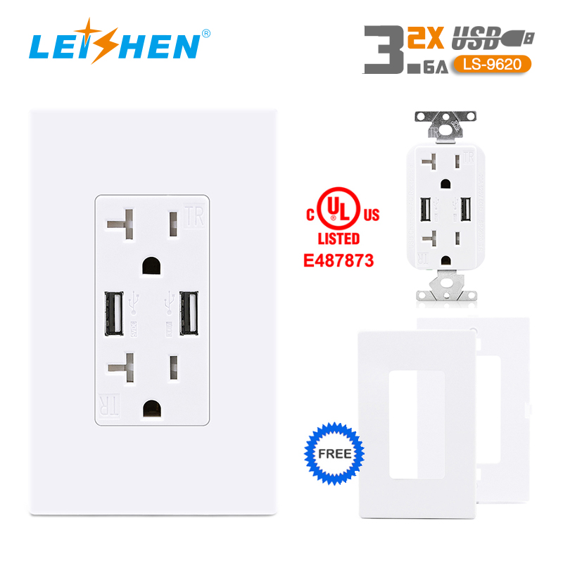 20A TR 2USB NO-LED Light 5V 3.6A wall outlet white
