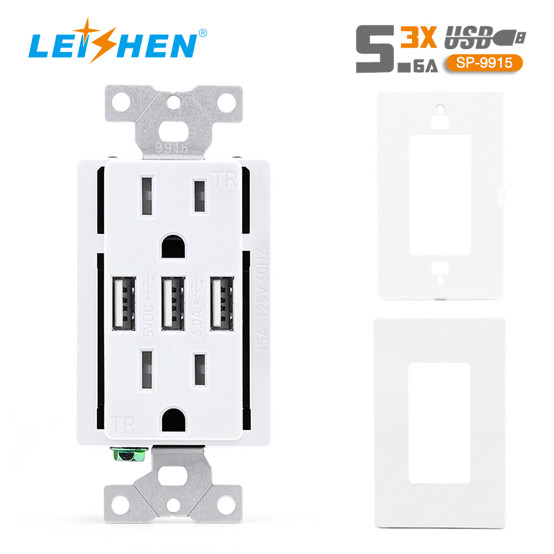 15A TR 3USB 5V 5.6A Wall Charging Outlet White
