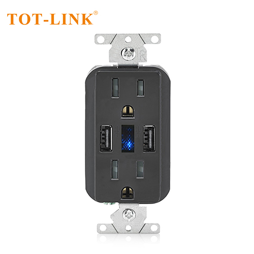 15A TR 2USB 5V3.6A wall outlet Black